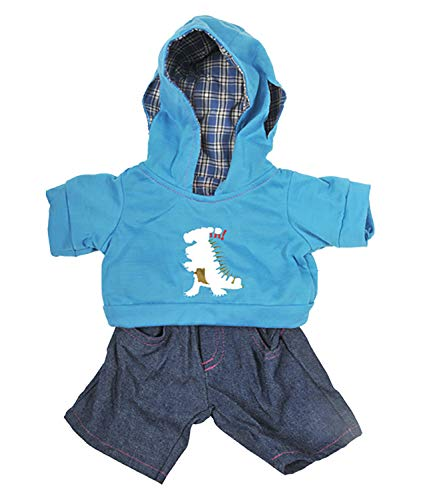 """Dinosaur Hoodie w/Jeans Teddy Bear Clothes Outfit Fits Most 14"""" - 18"""" Build-a-bear and Make Your Own Stuffed Animals"""