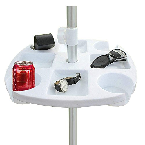 Clamp Table Umbrella (AMMSUN Plastic Beach Umbrella Table with 4 Cup Holders, White (17 Inch, white))