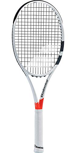 Babolat Pure Strike 100 Grey / Orange Tennis Racquet (4 5/8' Grip) Strung with Black Tennis Racket String