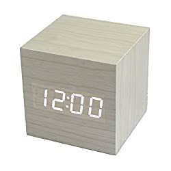 RayLineDo Fashion White Wood Cube Mini with LED Wooden Digital Alarm Clock -Time Temperature Date Display - Voice and Touch Activated