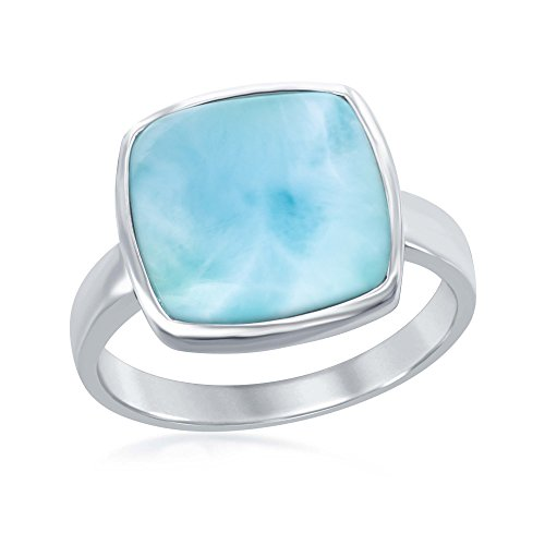 Sterling Silver High Polish Natural Square Larimar Ring