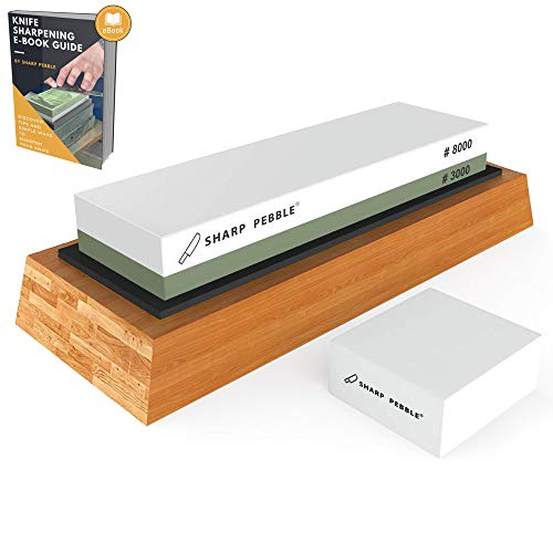 Premium Sharpening Stone 2 Side Grit 3000/8000 Whetstone | Best Kitchen Knife Sharpener Waterstone with Non-Slip Bamboo Base & Flattening Stone by Sharp Pebble
