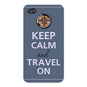 Apple Iphone Custom Case 4 4s White Plastic Snap on - Keep Calm and Travel On Compass