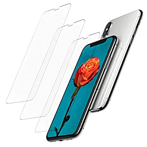iPhone X SCREEN PROTECTOR PREMIUM GLASS [3-PCS] [0.26mm] [9H Surface Hardness] [HD Explosion-proof] [Tempered Glasss] [Anti-shatter] [Anti-scratch] [Fingerprint Proof]