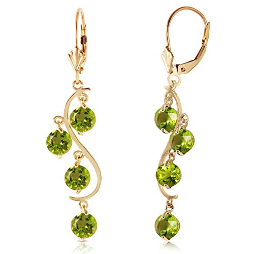 - 14k Yellow Gold Peridot Flower Dangle Earrings