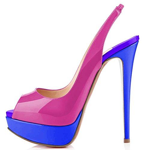 uBeauty Womens Platform Court Shoes High Heel Peep Toe Pumps Dress Slingback Paltform Ankle Strap Sandals Purple and Blue y30BanM7e