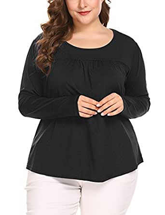 In'voland Women's Scoop Neck Pleated Blouse Top Tunic Shirt