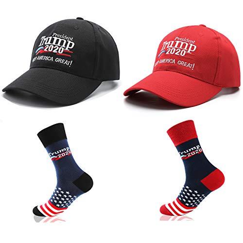shinyis MAGA Make America Great Again President 2020 Election USA Cap Baseball Hat with Socks Red (Red Hat Socks)