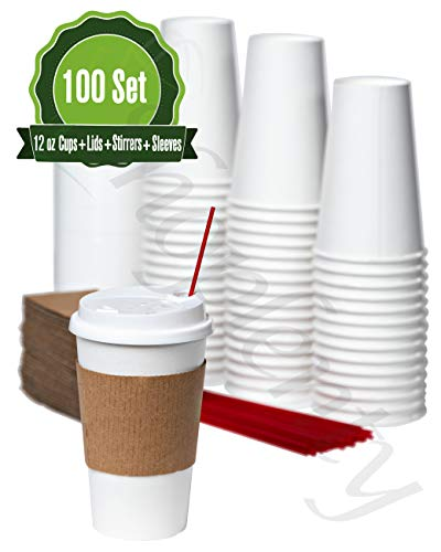 Hot White Paper Coffee Cups with Lids, Stirrers, and Sleeves. [ 12oz-100 Set ] Disposable Coffee Cups ideal for Home, Office, Restaurant, and Togo