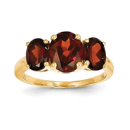 Solid 14k Yellow Gold Simulated Garnet Oval Ring (2mm)