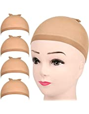 4 Pack Stretchable Nylon Stocking Wig Caps for Women, Light Brown