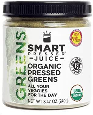Smart Pressed Organic Greens Superfoods Juice Powder Single Serving Cold-Pressed Vegan Alkalizing Green Juice Cleanse Detox (Original, 30 Servings Bottle)