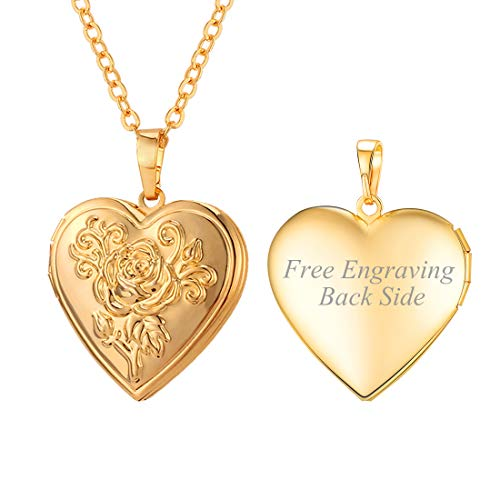 U7 Flower Heart Locket Necklace Black Side Engravable 18K Gold Plated Photo Locket Pendant Personalized for Women Girls