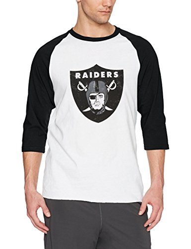 Mens Raiders New Shirt Oakland (OTS NFL Oakland Raiders Men's Rival Raglan Distressed Tee, X-Large, White Wash)