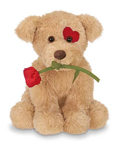Bearington Conner Cuddlesmore Plush Stuffed Animal Puppy Dog with Rose, 11 - Plush Valentine Animal