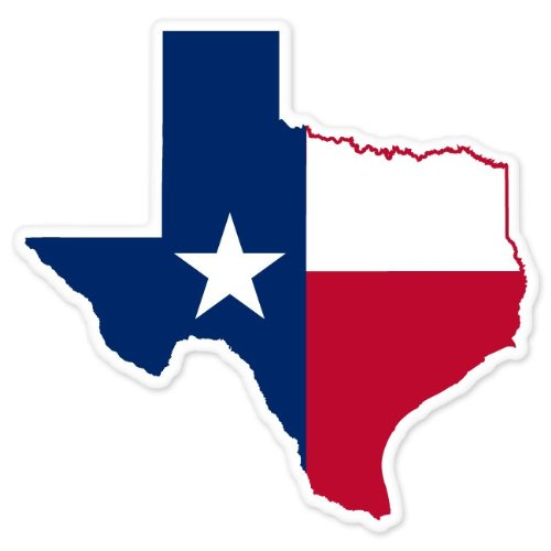 Texas State Map Flag car bumper window sticker 4