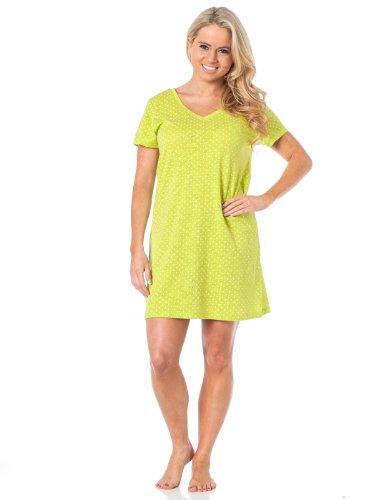 Womens Short-Sleeved Tee sleep shirt LimePolka S