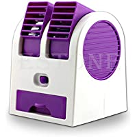 Loair Cooling Portable Mini Small Fan - Desktop Dual Bladeless Air Conditioner - Handheld Portable Rechargeable USB With Base 3 Speeds For Home Office Outdoors Travel