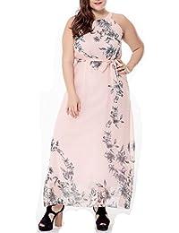 Women's Plus Size Floral Printed Chiffon Sleeveless Summer Maxi Dress with Belt