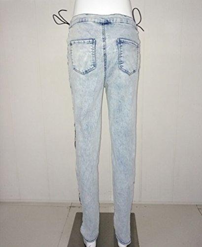 YAANCUN Delgado Alta De Cintura Club Flaco Diseño Azul Nocturno Claro Vaqueros Pantalones Ocio Fit Mujer Estilo Malla Jeans rHw8qrA
