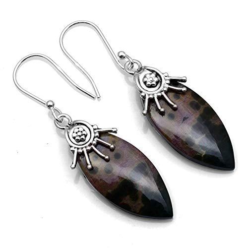 Silver Palace 925 Sterling Silver Natural Ocean Jasper Dangle Earrings for Women