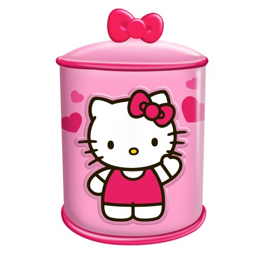 Vandor 18141 Hello Kitty Cupcake Ceramic Cylinder Cookie Jar, Pink and White]()