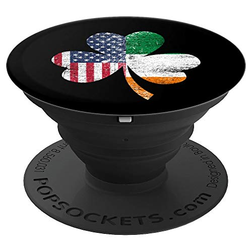 (IRISH US FLAG - Ireland Shamrock St Patricks Day - PopSockets Grip and Stand for Phones and Tablets)