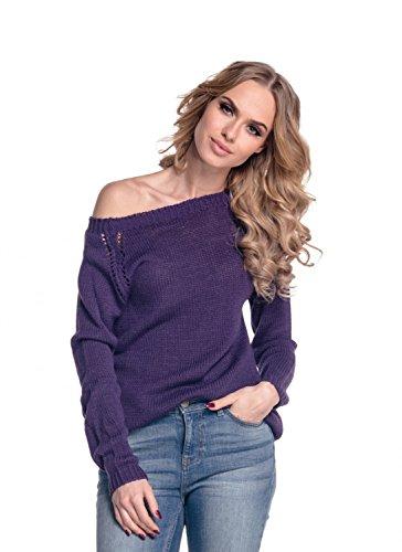 Glamour Empire PETITE. Para Mujer Jersey remates de canalé corte holgado. 341 Púrpura