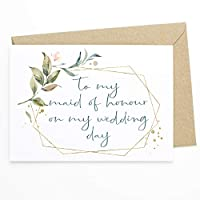 Wedding Day Note card - To My Maid Of Honour (Honor) On My Wedding Day