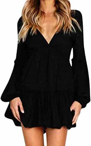 00d749176907 Women Dresses, Women Casual Dresss Women Sexy Casual Solied Ruffle Long  Sleeve Mini Dress Evening