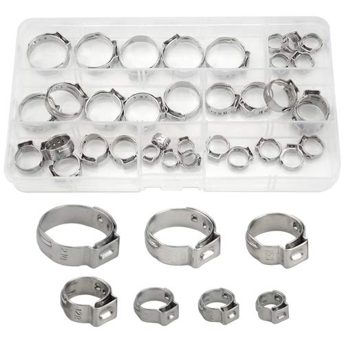 WGCD 35 PCS Stainless Steel Single Ear Hose Clamps Assortment Kit 7-21mm