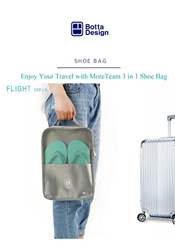 Travel Shoe Bag, MoreTeam 3 in 1 Shoe Storage Bag Holds 3 Pair of Shoes, Seperate Your Shoes From Clothes, Portable and Save Space for Men, Women, Gym, Easy And Quick Access To Your Shoes (Grey) by MoreTeam (Image #6)