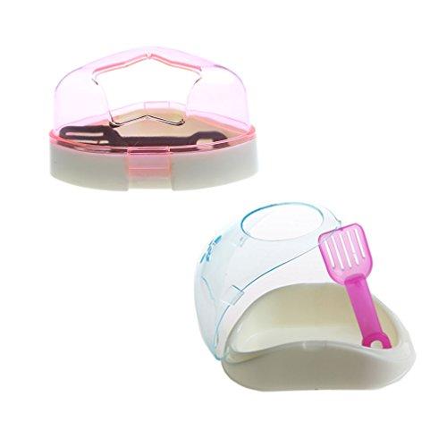 (Small Animal Plastic Hamster Bathroom Bath Sand Room Sauna Toilet Bathtub , 2 Pack ,Color May Varies)