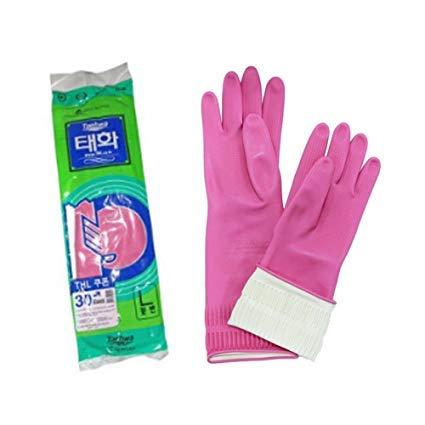 TotalBuy Reusable Rubber Latex Household Kitchen Long Gloves-Free Size