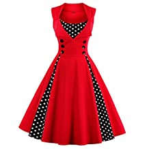 Wellwits Women's Diamond Neck Polka Dots Buttons Pleated Swing Vintage Dress