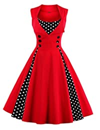 Wellwits Women's Diamond Neck Polka Dots Buttons Pleated Swing Vintage Dress