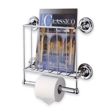 Wall Mounted Bathroom Magazine Rack - Organize It All Wall Mounted Magazine Storage Rack with Bathroom Toilet Paper Storage - Chrome