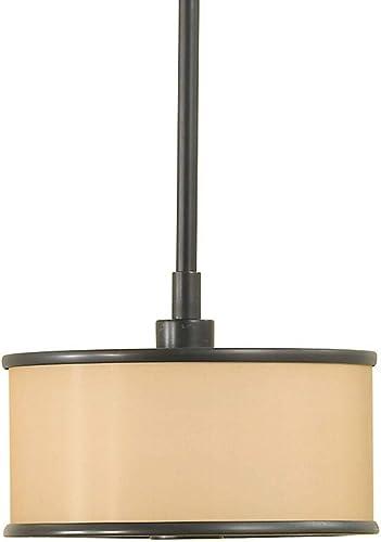 Feiss P1137DBZ Casual Luxury Fabric Shade Drum Pendant Lighting, Bronze, 1-Light 8 Dia x 6 H 75watts