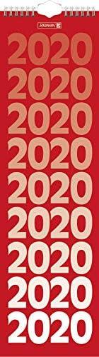 BRUNNEN 1070204 Wand-/Streifenkalender Modell 702 04 (1 Seite = 1 Woche, 130 x 450 mm, Kalendarium 2020, Wire-O-Bindung, mit Aufhänger)