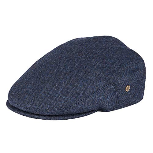 VOBOOM Men's Herringbone Flat Ivy Newsboy Hat Wool Blend Gatsby Cabbie Cap (Navy, L)