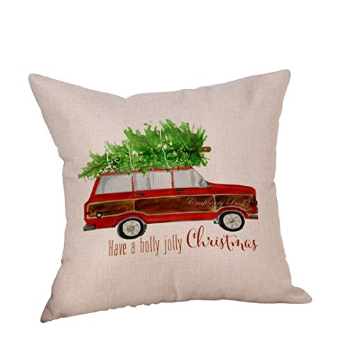 Happy Christmas Pillow Cases,Napoo Fashion Car Present Cushion Cover Square Throw Pillow Case Sofa Bedroom Home Decor (D)