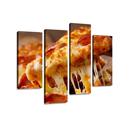 (Cheesy Pepperoni Pizza Canvas Wall Art Hanging Paintings Modern Artwork Abstract Picture Prints Home Decoration Gift Unique Designed Framed 4 Panel )