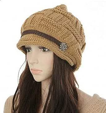 Headwear Women Warm Rageared Baggy Winter Beanie Chunky Knit Crochet Ski Hat Cap GH3132 Khaki