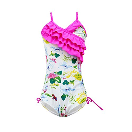 qyqkfly Girls One Piece Adjustable Bathing Suit Modest Ruffle Swimwear 2Y-10Y Swimsuit (FBA) (C-Rose Red, X-Large(Size 14):12y-14y)