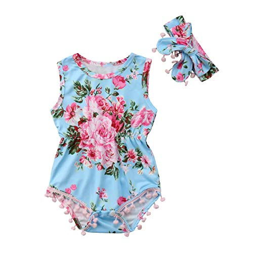 Infant Toddler Baby Girl Romper Floral Pompom Tassels Sleeveless Bodysuit Jumpsuit Outfit Headband Summer Clothes Sets (Blue, 0-6 ()