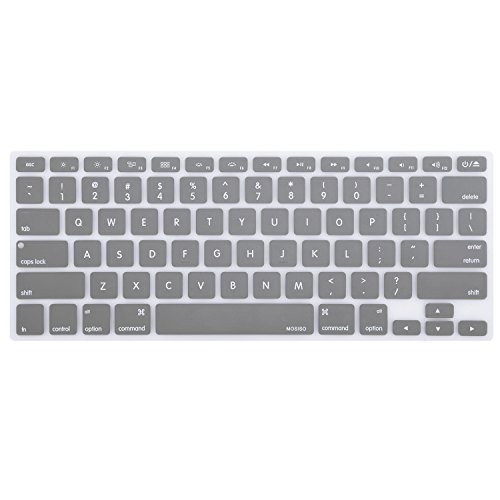 MOSISO Keyboard Cover Silicone Skin Compatible MacBook Pro 13 Inch, 15 Inch (with or Without Retina Display, 2015 or Older Version) MacBook Air 13 Inch, Gray