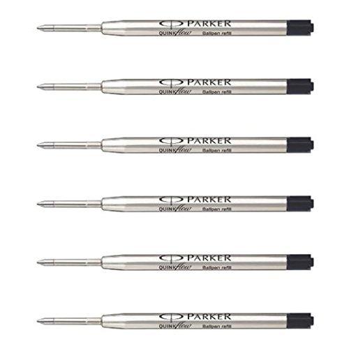 Parker Ball Point Pen Refills, Medium Point, Black Ink, Pack of 6 (Refill Pen Parker Ballpoint)