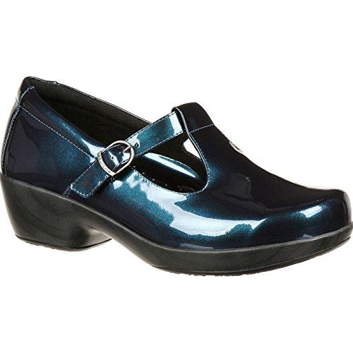 4EurSole RKH274 Women's Comfort 4ever T-Strap Shoe, Metallic Harbor Blue - 39 M