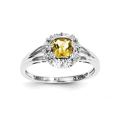 ICE CARATS 925 Sterling Silver Whiskey Quartz Diamond Band Ring Size 7.00 Gemstone Fine Jewelry Ideal Gifts For Women Gift Set From (Sterling Silver Whiskey)