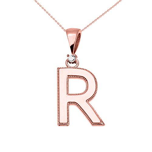 """Collier Femme Pendentif 14 Ct Or Rose Poli Élevé Milgrain Solitaire Diamant """"R"""" Initiale (Livré avec une 45cm Chaîne)"""